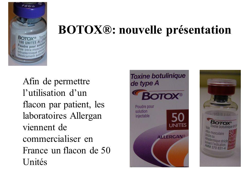 BOTOX®: nouvelle présentation Afin de permettre lutilisation dun flacon par patient, les laboratoires Allergan viennent de commercialiser en France un