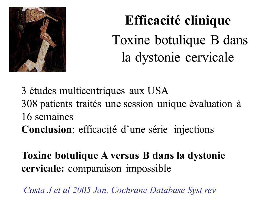 Efficacité clinique Toxine botulique B dans la dystonie cervicale Costa J et al 2005 Jan. Cochrane Database Syst rev 3 études multicentriques aux USA