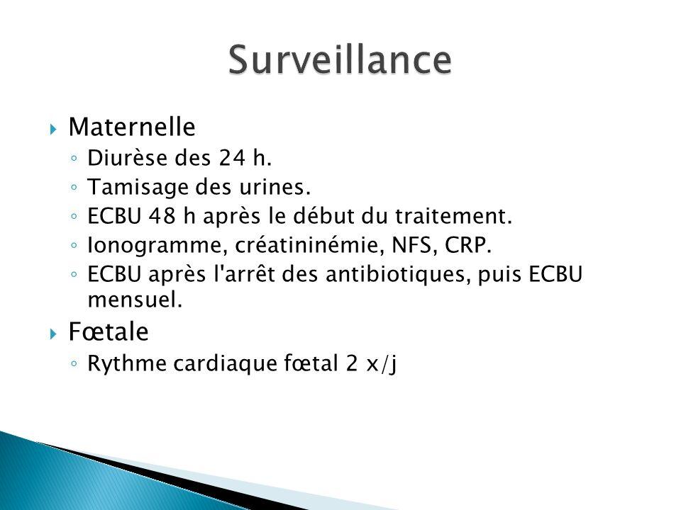 Maternelle Diurèse des 24 h. Tamisage des urines. ECBU 48 h après le début du traitement. Ionogramme, créatininémie, NFS, CRP. ECBU après l'arrêt des