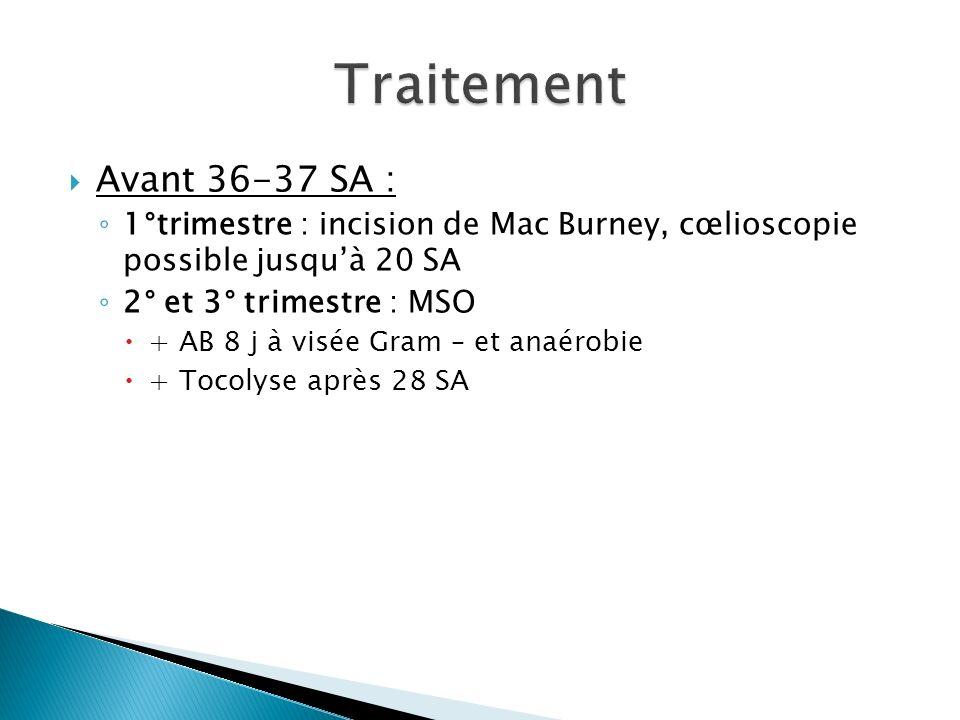 Avant 36-37 SA : 1°trimestre : incision de Mac Burney, cœlioscopie possible jusquà 20 SA 2° et 3° trimestre : MSO + AB 8 j à visée Gram – et anaérobie