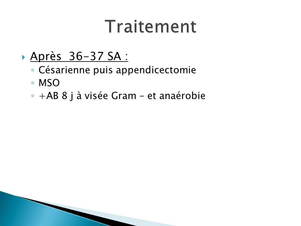Après 36-37 SA : Césarienne puis appendicectomie MSO +AB 8 j à visée Gram – et anaérobie