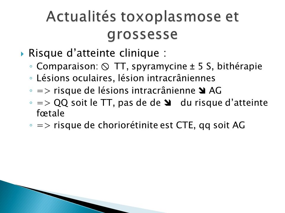 Risque datteinte clinique : Comparaison: TT, spyramycine ± 5 S, bithérapie Lésions oculaires, lésion intracrâniennes => risque de lésions intracrânien