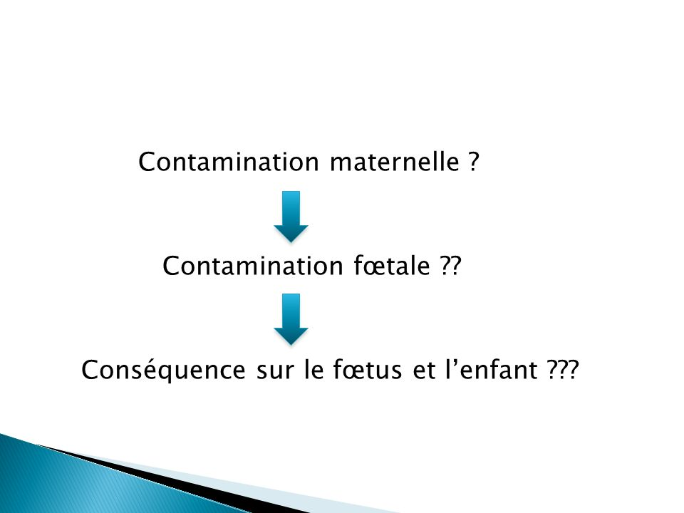 Contamination maternelle ? Contamination fœtale ?? Conséquence sur le fœtus et lenfant ???