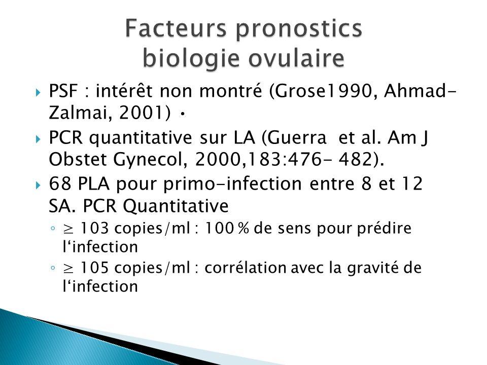 PSF : intérêt non montré (Grose1990, Ahmad- Zalmai, 2001) PCR quantitative sur LA (Guerra et al. Am J Obstet Gynecol, 2000,183:476- 482). 68 PLA pour