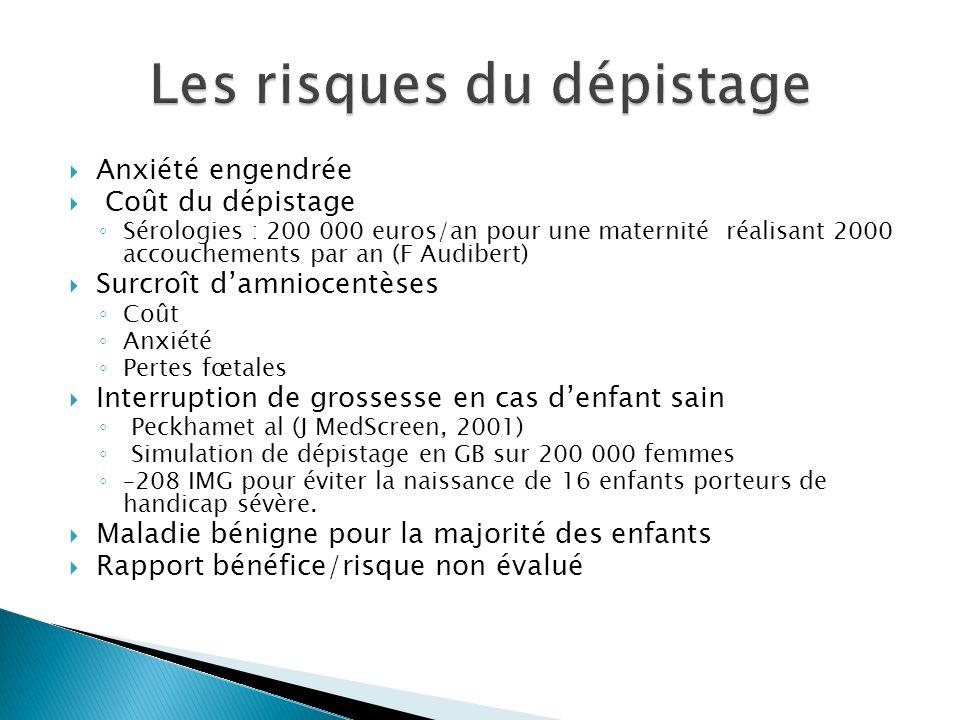 Anxiété engendrée Coût du dépistage Sérologies : 200 000 euros/an pour une maternité réalisant 2000 accouchements par an (F Audibert) Surcroît damnioc