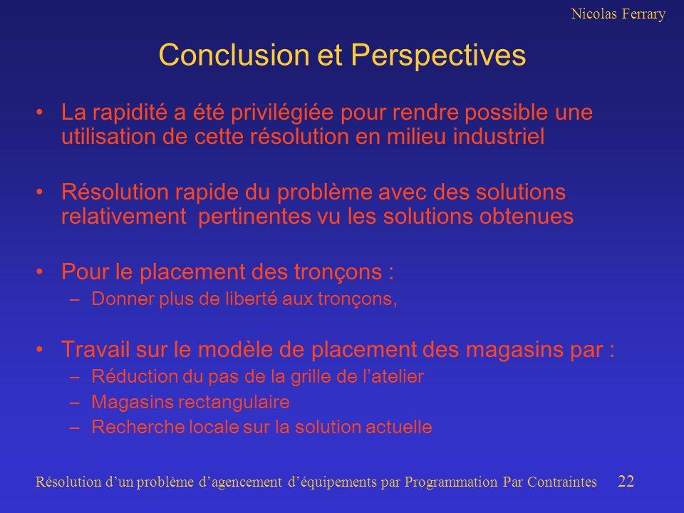 Nicolas Ferrary Résolution dun problème dagencement déquipements par Programmation Par Contraintes 22 Conclusion et Perspectives La rapidité a été pri