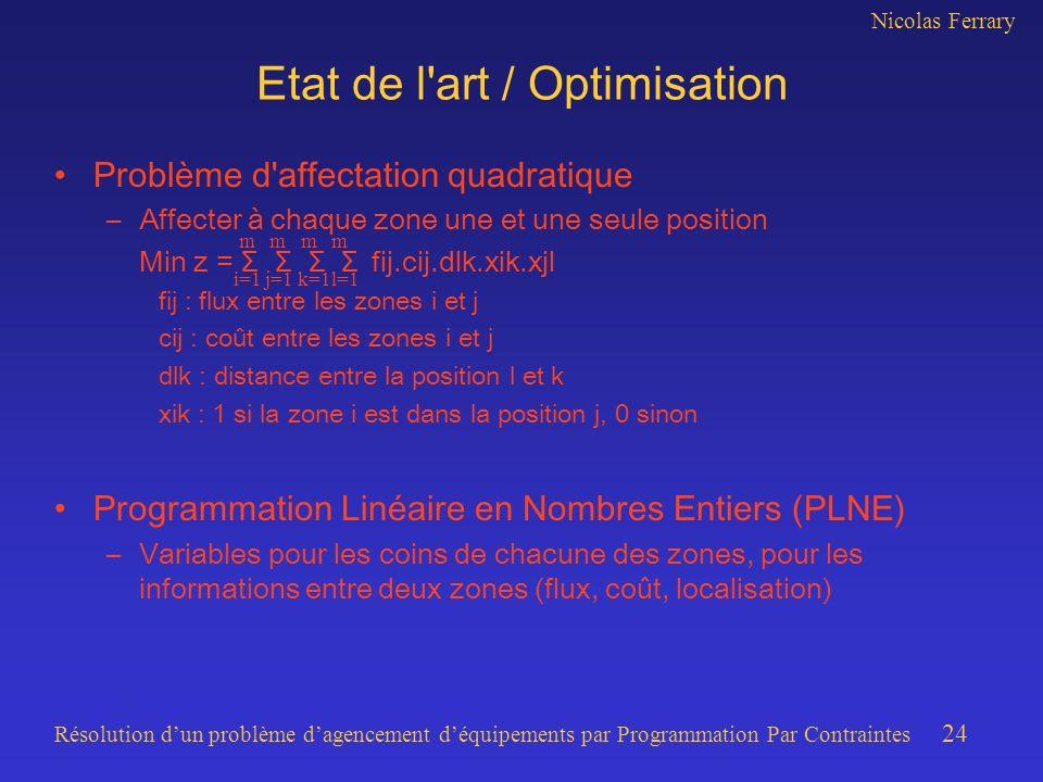 Nicolas Ferrary Résolution dun problème dagencement déquipements par Programmation Par Contraintes 24 Etat de l art / Optimisation Problème d affectation quadratique –Affecter à chaque zone une et une seule position Min z = Σ Σ Σ Σ fij.cij.dlk.xik.xjl fij : flux entre les zones i et j cij : coût entre les zones i et j dlk : distance entre la position l et k xik : 1 si la zone i est dans la position j, 0 sinon Programmation Linéaire en Nombres Entiers (PLNE) –Variables pour les coins de chacune des zones, pour les informations entre deux zones (flux, coût, localisation) m m m m i=1 j=1 k=1l=1