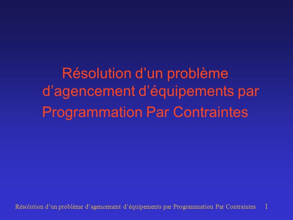 Résolution dun problème dagencement déquipements par Programmation Par Contraintes 1 Résolution dun problème dagencement déquipements par Programmation Par Contraintes