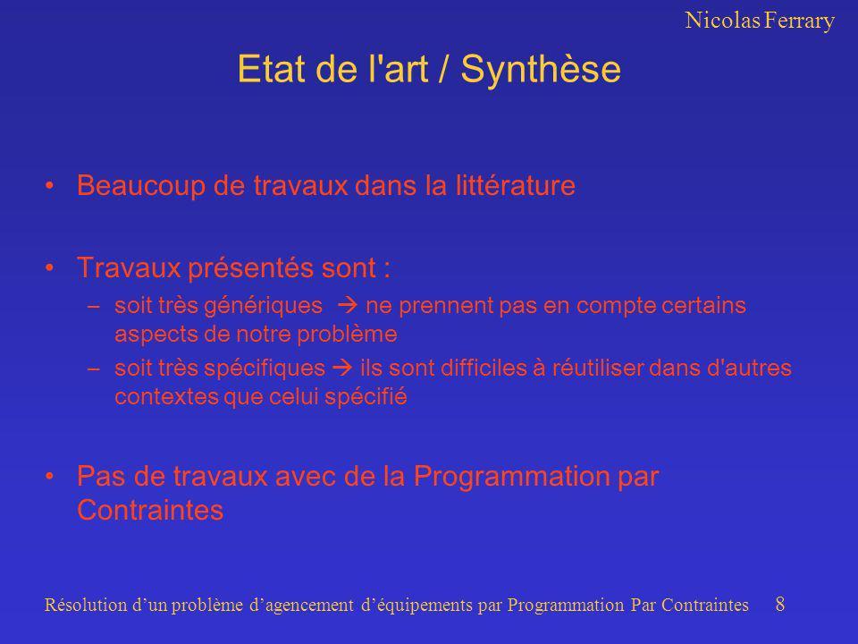 Nicolas Ferrary Résolution dun problème dagencement déquipements par Programmation Par Contraintes 8 Etat de l'art / Synthèse Beaucoup de travaux dans