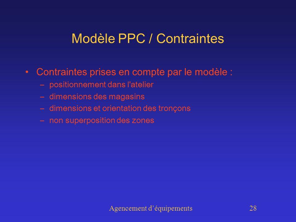 Agencement déquipements 28 Modèle PPC / Contraintes Contraintes prises en compte par le modèle : –positionnement dans l atelier –dimensions des magasins –dimensions et orientation des tronçons –non superposition des zones