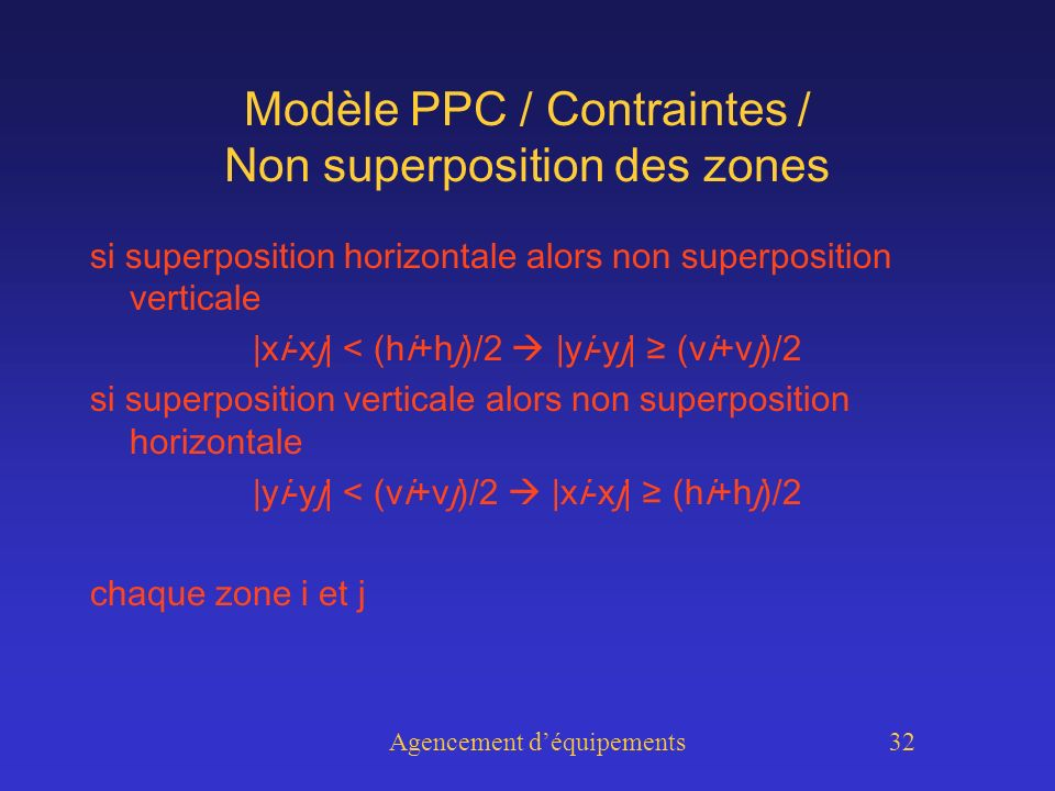 Agencement déquipements 32 Modèle PPC / Contraintes / Non superposition des zones si superposition horizontale alors non superposition verticale |xi-xj| < (hi+hj)/2 |yi-yj| (vi+vj)/2 si superposition verticale alors non superposition horizontale |yi-yj| < (vi+vj)/2 |xi-xj| (hi+hj)/2 chaque zone i et j
