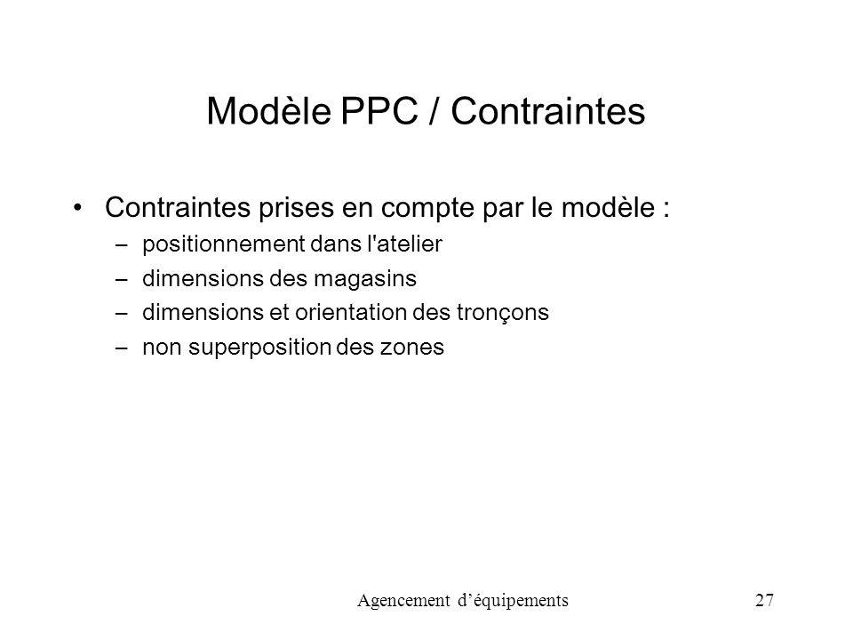 Agencement déquipements 27 Modèle PPC / Contraintes Contraintes prises en compte par le modèle : –positionnement dans l atelier –dimensions des magasins –dimensions et orientation des tronçons –non superposition des zones