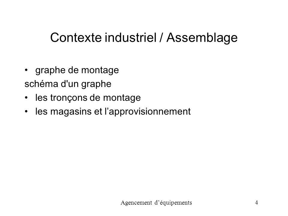 Agencement déquipements 4 Contexte industriel / Assemblage graphe de montage schéma d un graphe les tronçons de montage les magasins et lapprovisionnement