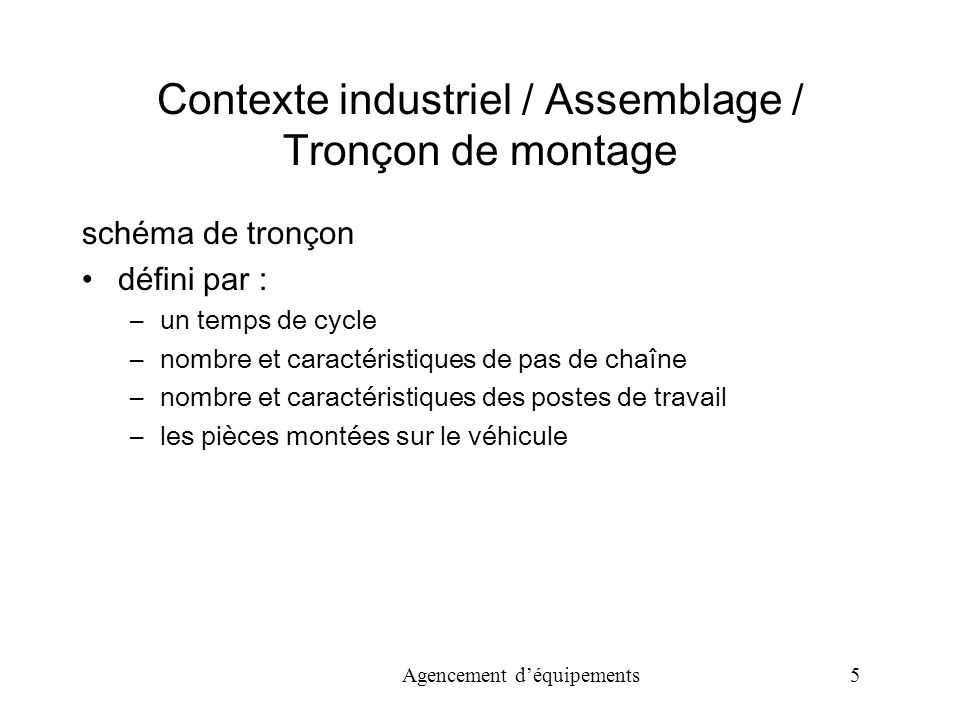 Agencement déquipements 26 Modèle PPC / Fonction objective manutention : M*T production : T*T