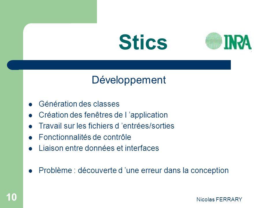 Nicolas FERRARY 10 Stics Développement Génération des classes Création des fenêtres de l application Travail sur les fichiers d entrées/sorties Foncti