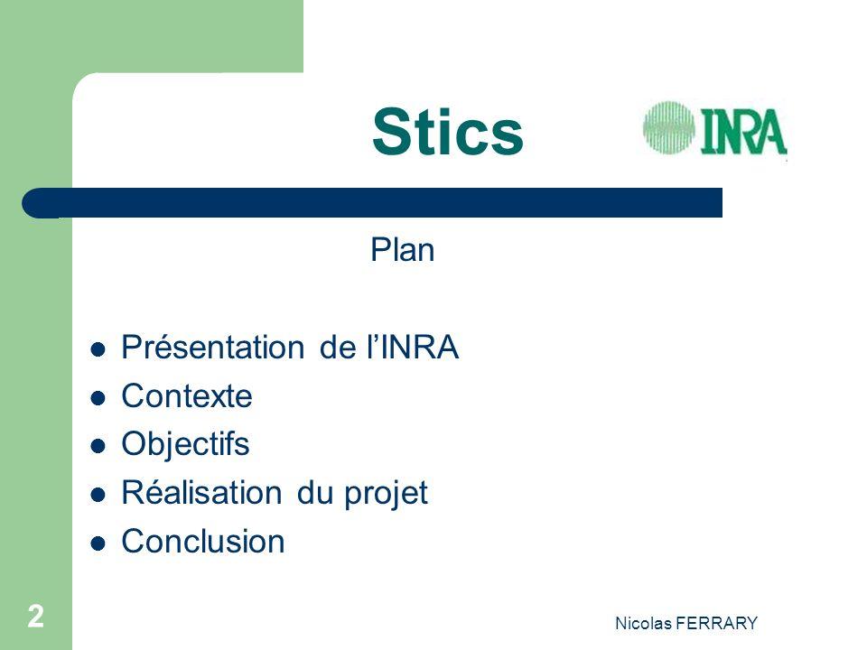 Nicolas FERRARY 2 Stics Plan Présentation de lINRA Contexte Objectifs Réalisation du projet Conclusion