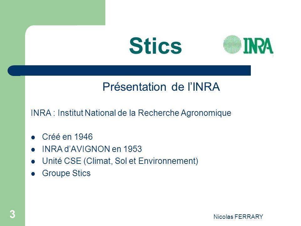 Nicolas FERRARY 3 Stics Présentation de lINRA INRA : Institut National de la Recherche Agronomique Créé en 1946 INRA dAVIGNON en 1953 Unité CSE (Climat, Sol et Environnement) Groupe Stics