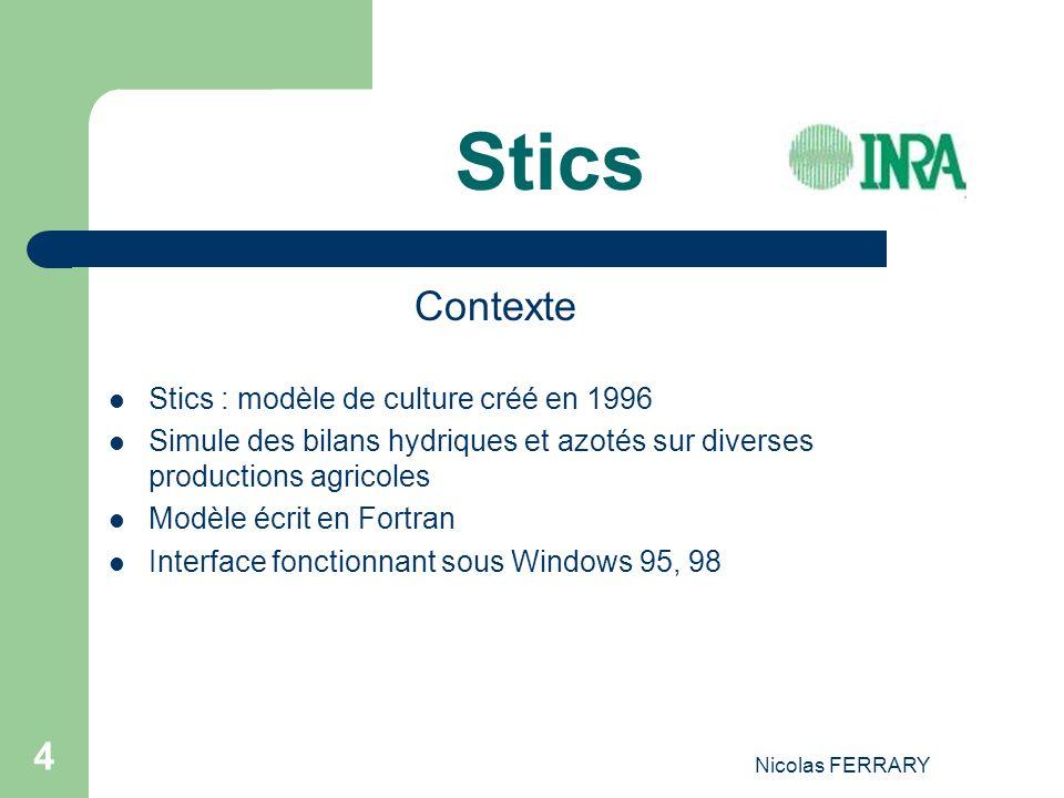 Nicolas FERRARY 4 Stics Contexte Stics : modèle de culture créé en 1996 Simule des bilans hydriques et azotés sur diverses productions agricoles Modèle écrit en Fortran Interface fonctionnant sous Windows 95, 98