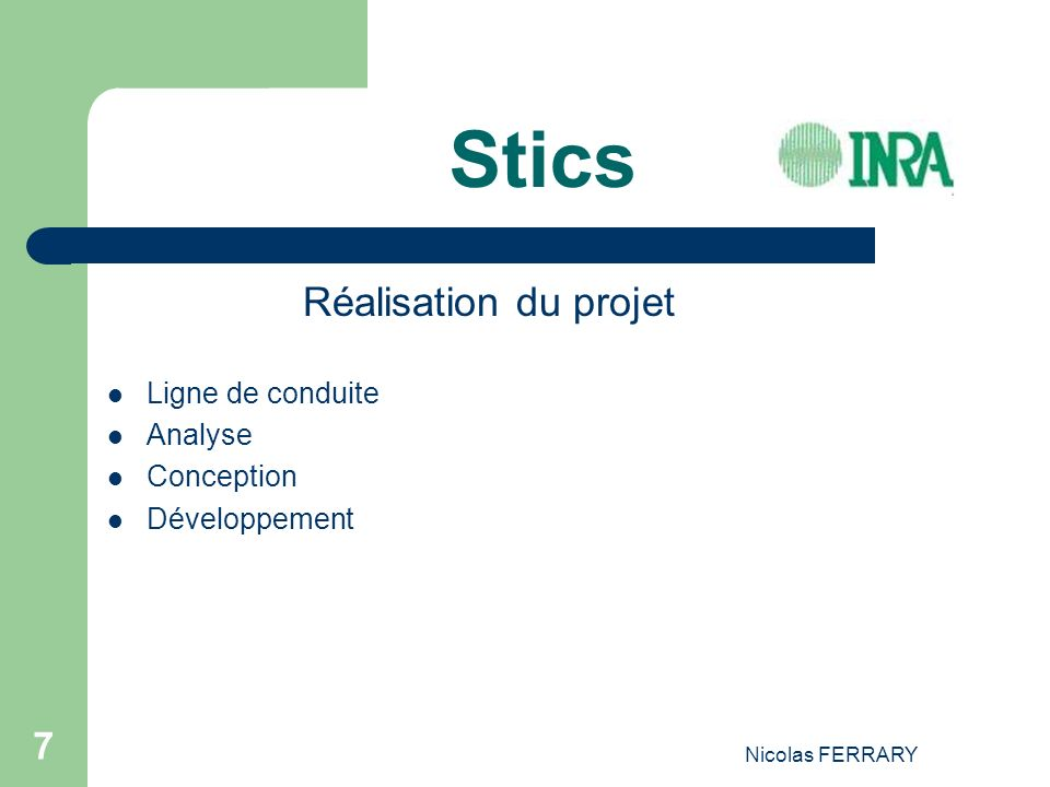 Nicolas FERRARY 7 Stics Réalisation du projet Ligne de conduite Analyse Conception Développement