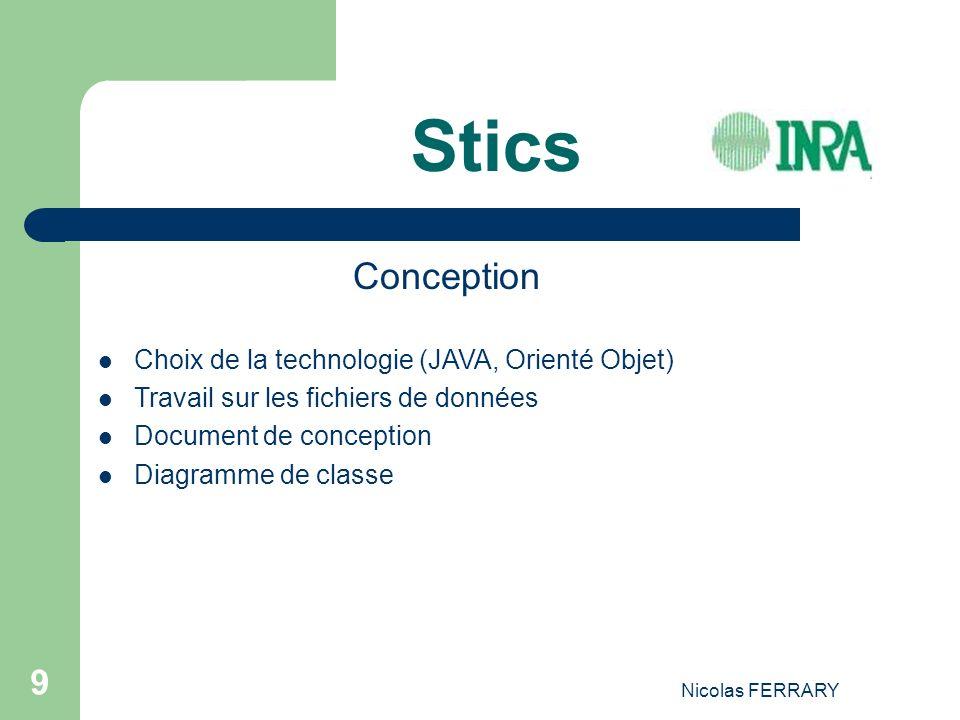 Nicolas FERRARY 9 Stics Conception Choix de la technologie (JAVA, Orienté Objet) Travail sur les fichiers de données Document de conception Diagramme de classe