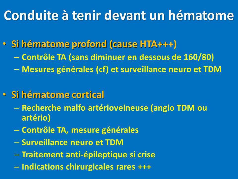 Conduite à tenir devant un hématome Si hématome profond (cause HTA++ Si hématome profond (cause HTA+++) – Contrôle TA (sans diminuer en dessous de 160