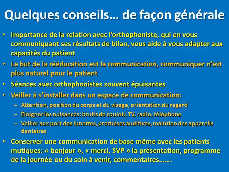 Importance de la relation avec lorthophoniste, qui en vous communiquant ses résultats de bilan, vous aide à vous adapter aux capacités du patient Impo