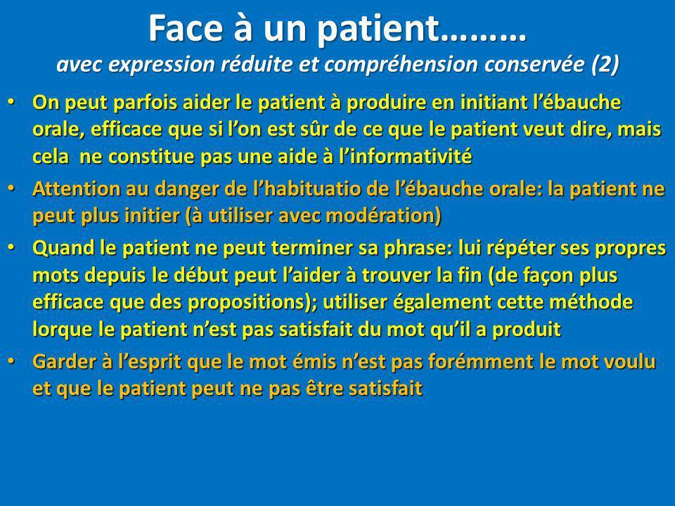 On peut parfois aider le patient à produire en initiant lébauche orale, efficace que si lon est sûr de ce que le patient veut dire, mais cela ne const