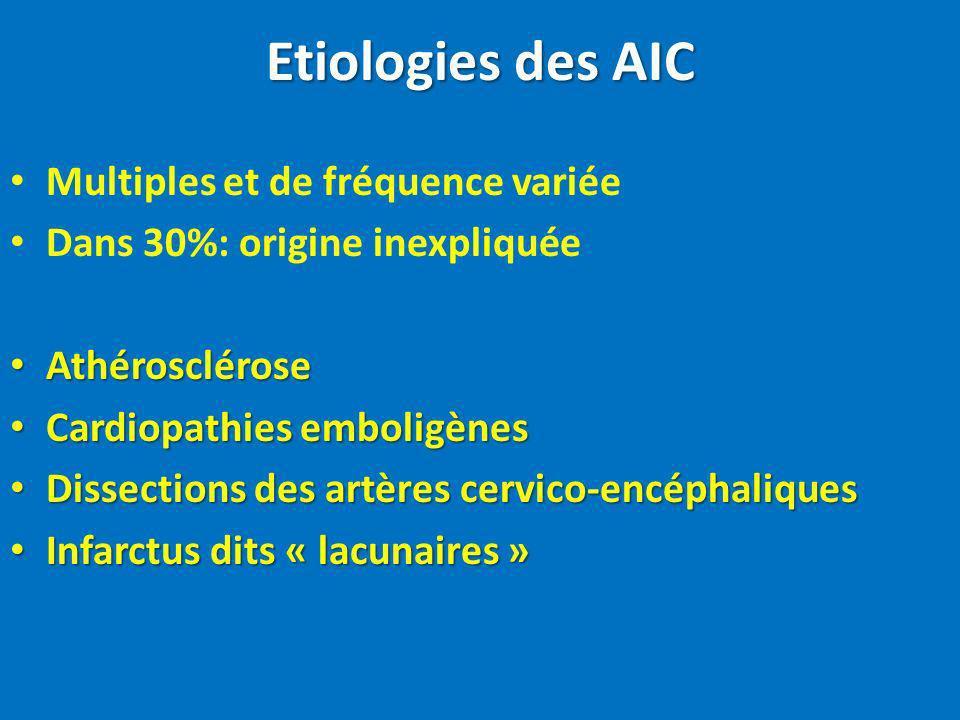 Etiologies des AIC Multiples et de fréquence variée Dans 30%: origine inexpliquée Athérosclérose Athérosclérose Cardiopathies emboligènes Cardiopathie