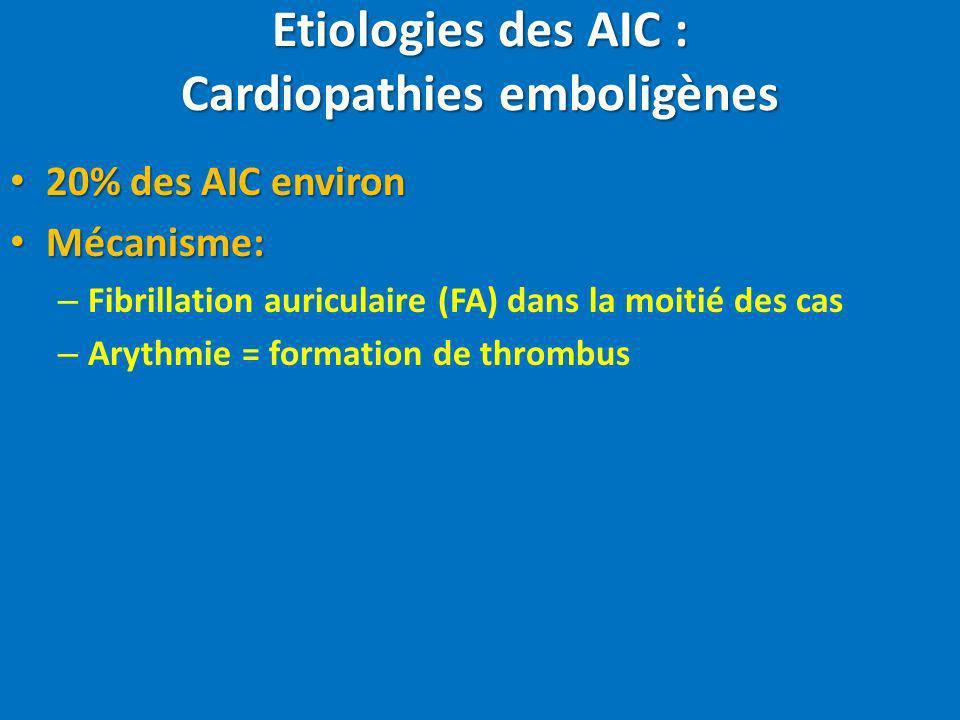 Etiologies des AIC : Cardiopathies emboligènes 20% des AIC environ 20% des AIC environ Mécanisme: Mécanisme: – Fibrillation auriculaire (FA) dans la m
