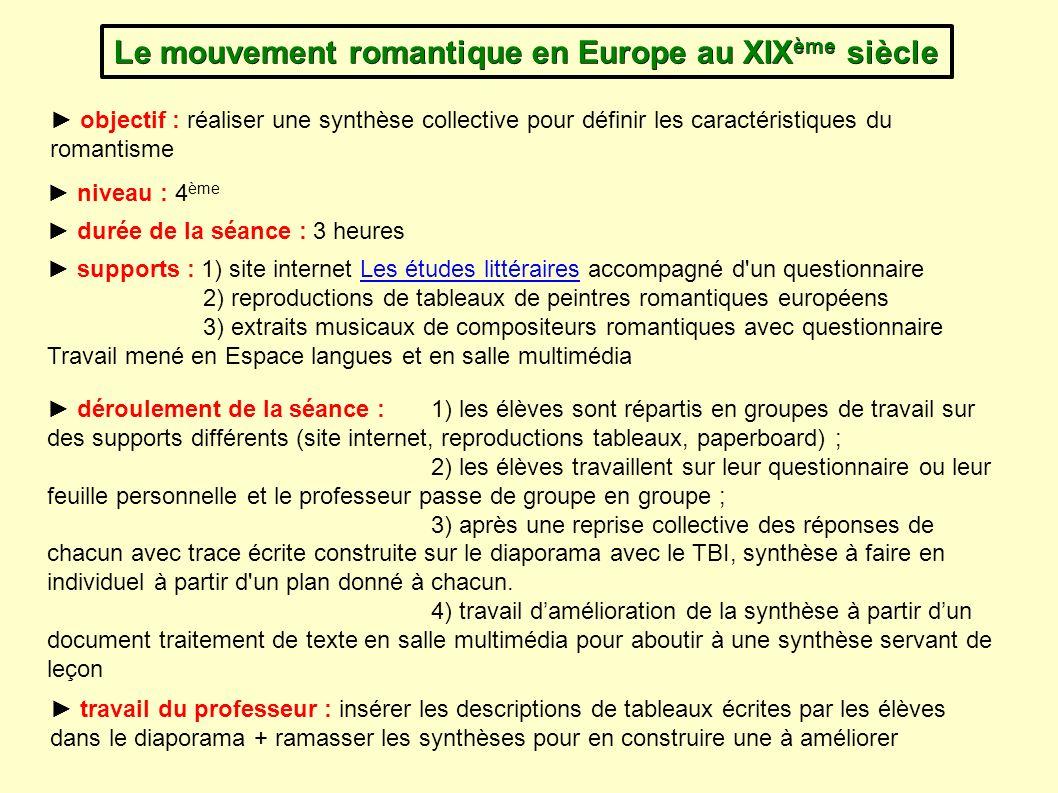 Le mouvement romantique en Europe au XIX ème siècle objectif : réaliser une synthèse collective pour définir les caractéristiques du romantisme suppor