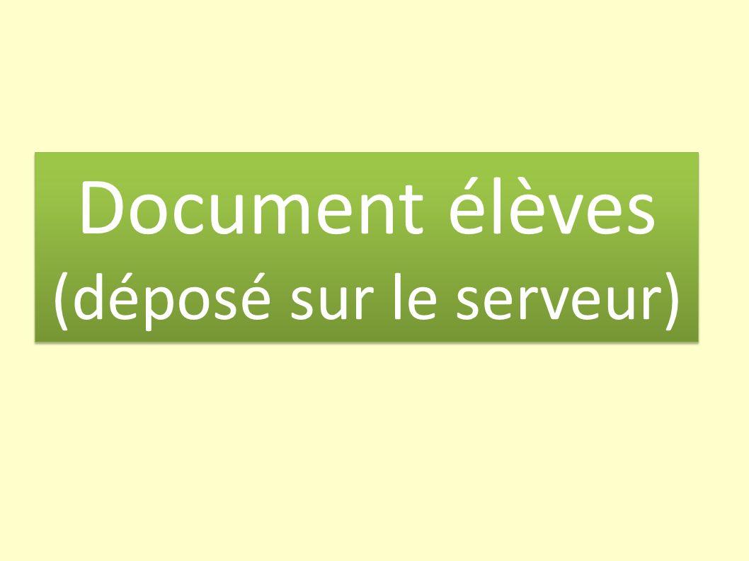 Document élèves (déposé sur le serveur) Document élèves (déposé sur le serveur)