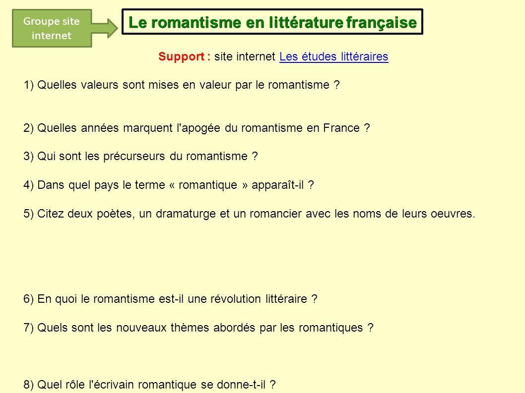Le romantisme en littérature française Support : site internet Les études littérairesLes études littéraires 1) Quelles valeurs sont mises en valeur pa