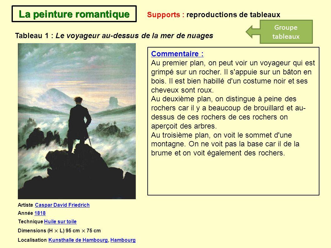 La peinture romantique Supports : reproductions de tableaux Commentaire : Au premier plan, on peut voir un voyageur qui est grimpé sur un rocher. Il s