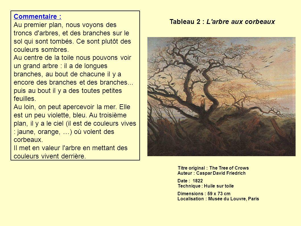 Tableau 2 : L'arbre aux corbeaux Titre original : The Tree of Crows Auteur : Caspar David Friedrich Date : 1822 Technique : Huile sur toile Dimensions