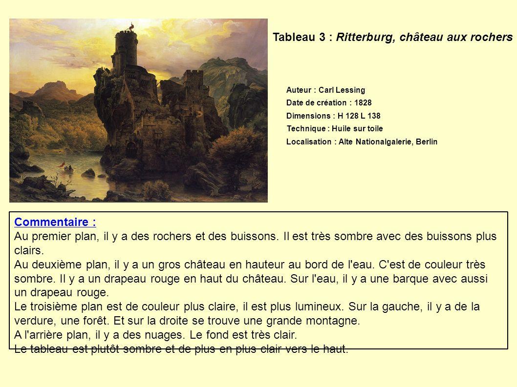 Tableau 3 : Ritterburg, château aux rochers Commentaire : Au premier plan, il y a des rochers et des buissons. Il est très sombre avec des buissons pl