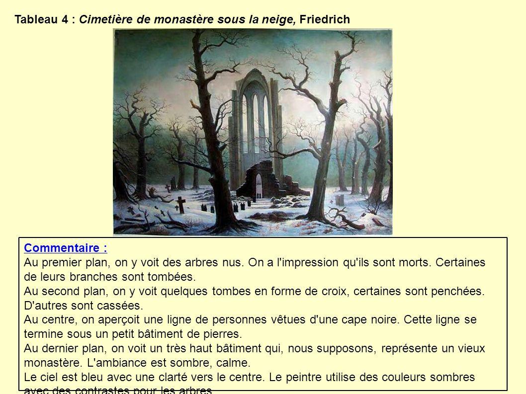 Tableau 4 : Cimetière de monastère sous la neige, Friedrich Commentaire : Au premier plan, on y voit des arbres nus. On a l'impression qu'ils sont mor