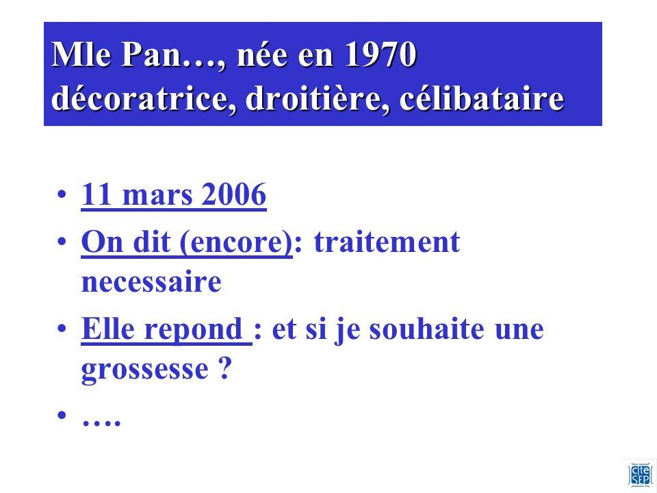 Mle Pan…, née en 1970 décoratrice, droitière, célibataire 11 mars 2006 On dit (encore): traitement necessaire Elle repond : et si je souhaite une grossesse .