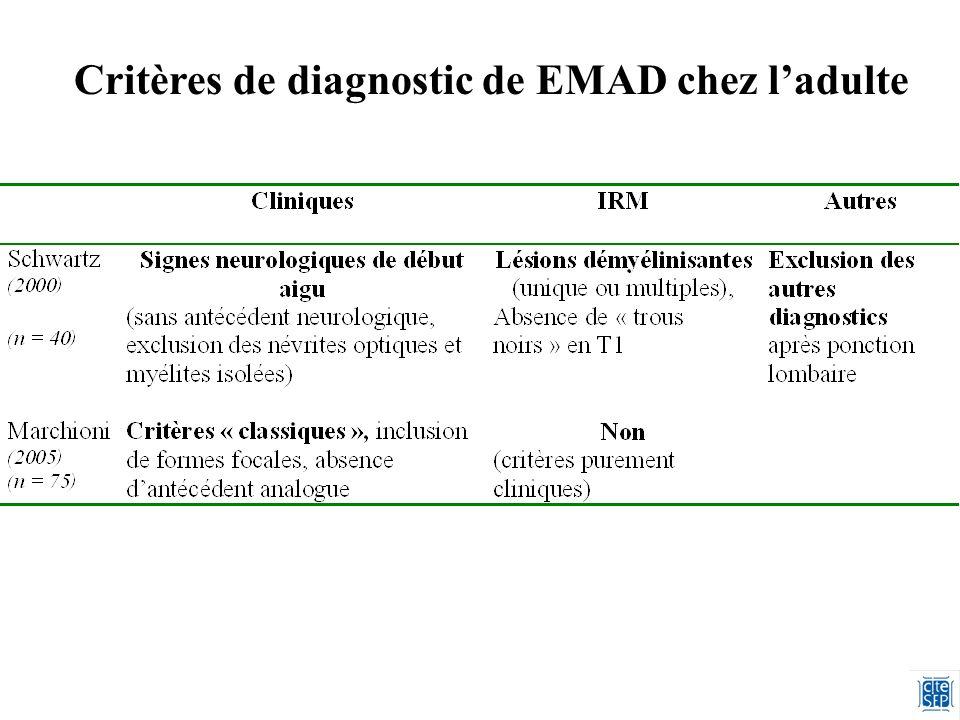 Critères de diagnostic de EMAD chez ladulte