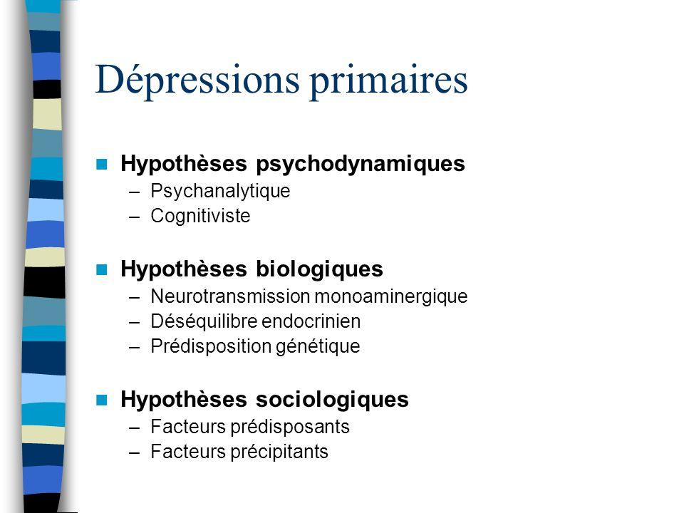 Dépressions primaires Hypothèses psychodynamiques –Psychanalytique –Cognitiviste Hypothèses biologiques –Neurotransmission monoaminergique –Déséquilib
