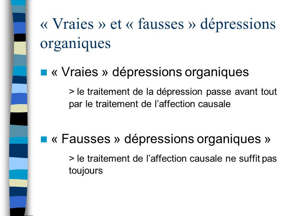 « Vraies » et « fausses » dépressions organiques « Vraies » dépressions organiques > le traitement de la dépression passe avant tout par le traitement