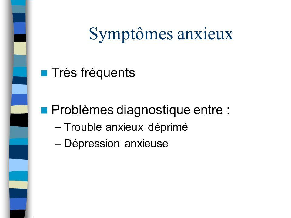 Symptômes anxieux Très fréquents Problèmes diagnostique entre : –Trouble anxieux déprimé –Dépression anxieuse