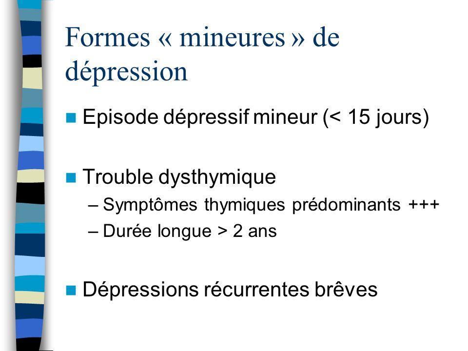 Formes « mineures » de dépression Episode dépressif mineur (< 15 jours) Trouble dysthymique –Symptômes thymiques prédominants +++ –Durée longue > 2 an