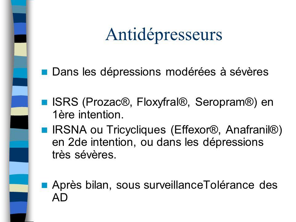 Antidépresseurs Dans les dépressions modérées à sévères ISRS (Prozac®, Floxyfral®, Seropram®) en 1ère intention. IRSNA ou Tricycliques (Effexor®, Anaf