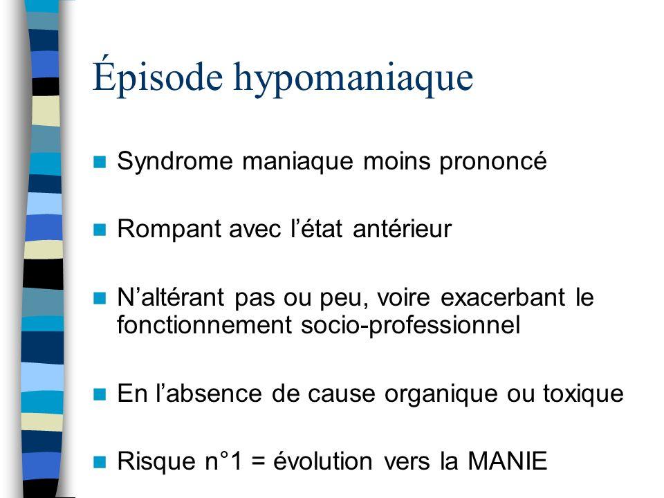 Épisode hypomaniaque Syndrome maniaque moins prononcé Rompant avec létat antérieur Naltérant pas ou peu, voire exacerbant le fonctionnement socio-prof