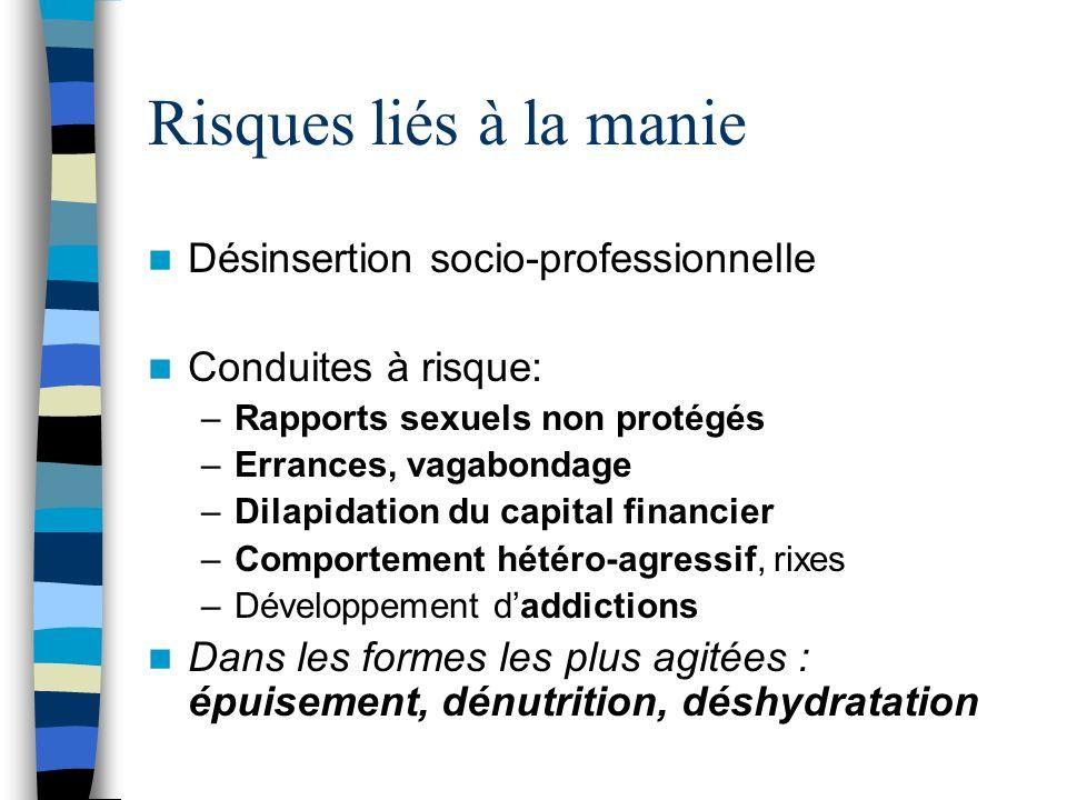 Risques liés à la manie Désinsertion socio-professionnelle Conduites à risque: –Rapports sexuels non protégés –Errances, vagabondage –Dilapidation du