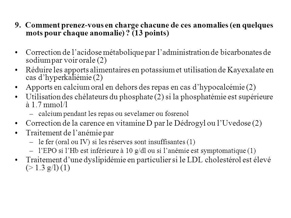 9. Comment prenez-vous en charge chacune de ces anomalies (en quelques mots pour chaque anomalie) ? (13 points) Correction de lacidose métabolique par
