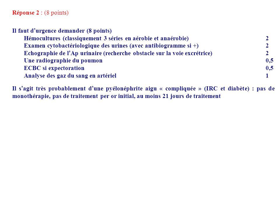 Réponse 2 : (8 points) Il faut d urgence demander (8 points) Hémocultures (classiquement 3 séries en aérobie et anaérobie) 2 Examen cytobactériologiqu