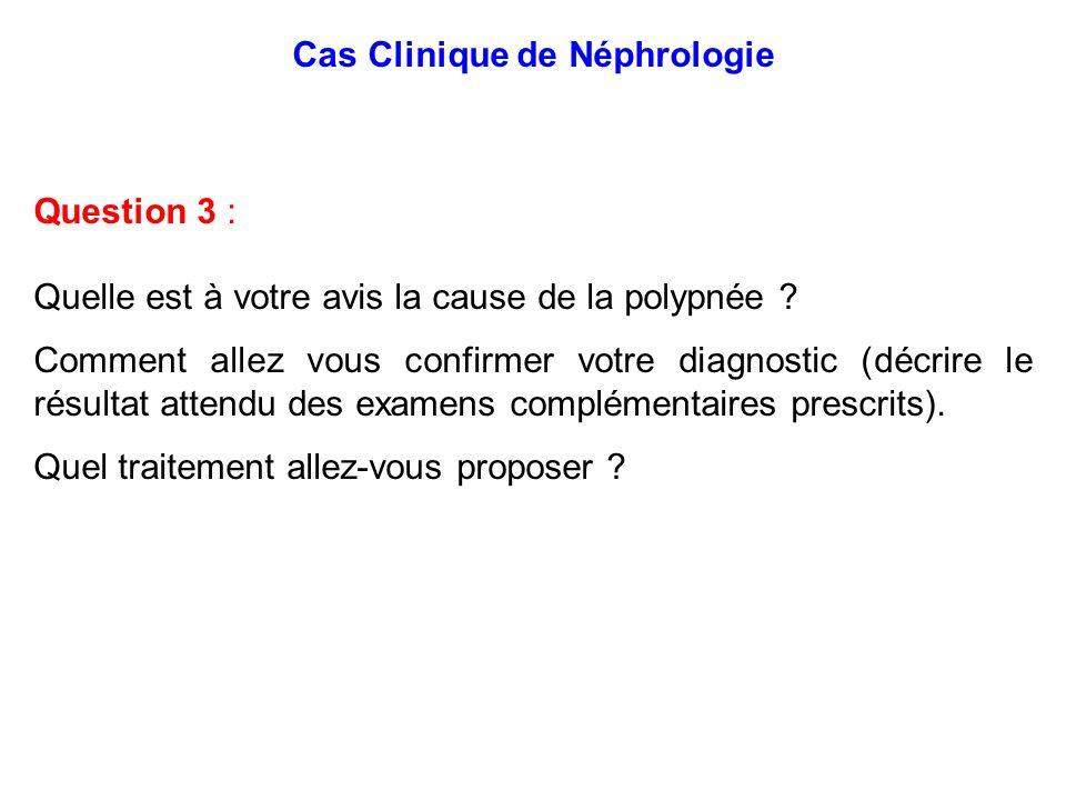 Cas Clinique de Néphrologie Question 3 : Quelle est à votre avis la cause de la polypnée ? Comment allez vous confirmer votre diagnostic (décrire le r