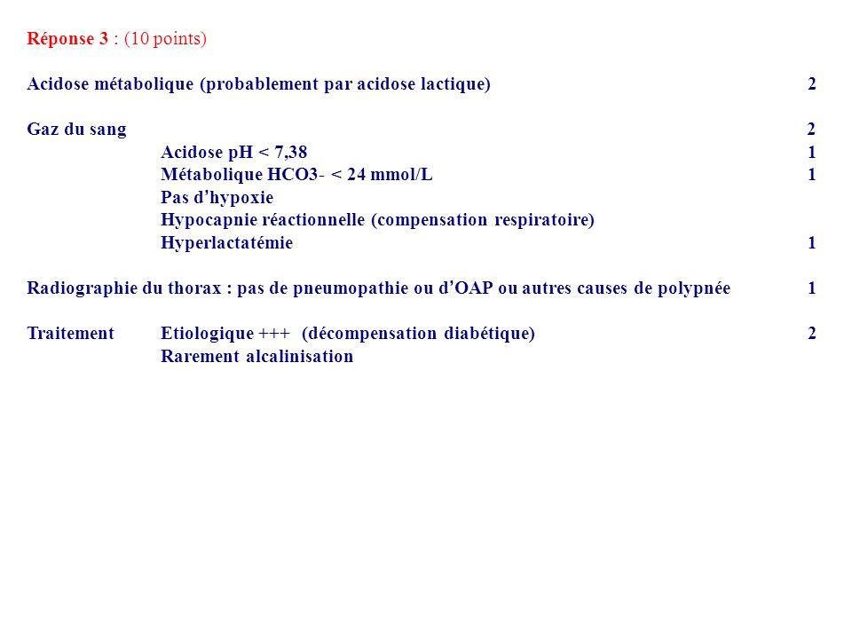 Réponse 3 : (10 points) Acidose métabolique (probablement par acidose lactique) 2 Gaz du sang 2 Acidose pH < 7,38 1 Métabolique HCO3- < 24 mmol/L 1 Pa