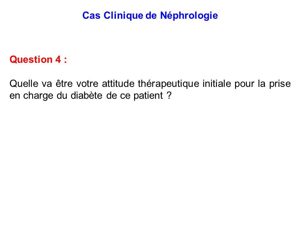 Cas Clinique de Néphrologie Question 4 : Quelle va être votre attitude thérapeutique initiale pour la prise en charge du diabète de ce patient ?